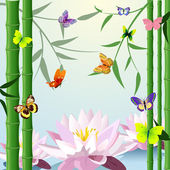 Design with butterfly lotus bamboo — Stock Vector
