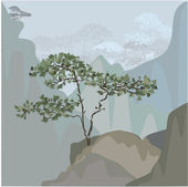 Tree on a mountain ledge — Stock Vector