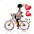Flower girl bike with air valentines — Stockvectorbeeld