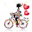 Flower girl bike with air valentines - Stock Vector