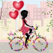 Vector de stock : Flower girl bike with air valentines