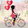 Flower girl bike with air valentines — Vector de stock