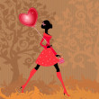 Girl with a valentines balloon — Stock Vector #8901171