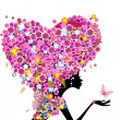 Girl with flowers on her head in the shape of a heart — Vector de stock