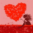 Vector de stock : Red retro valentine fairy
