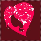 Female head to the heart — Stock Vector