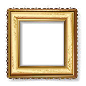 Retro frame with gold leaf — Stock Vector