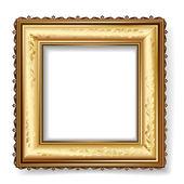Retro rámeček s plátkového zlata — Stock vektor