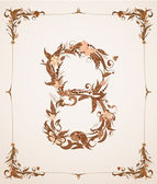 Retro vintage letter number in a frame — Stock Vector