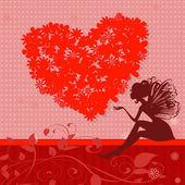 Red retro valentine fairy — Stock Vector