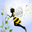 Stock Vector: Flower Girl Fairy Bee