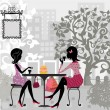 Girl in a summer cafe and cake - Imagen vectorial