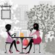 夏季咖啡和蛋糕的女孩 — 图库矢量图片