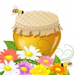 Floral design with a jar the sweet honey - Stock Vector