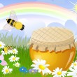 Summer panorama from a jar sweet honey Illustration contains a t — Stock Vector