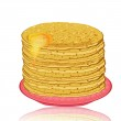 Plate of pancakes and honey — Stock Vector