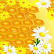 Design of honeycomb and flowers Illustration contains a transpar - Vettoriali Stock