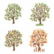 Set of decorative trees Seasons — Stock Vector