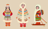 Female northern in costumes — Stock Vector