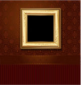 Golden picture frame on the wall of vintage wallpaper — Stock Vector