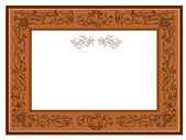 Frame with foliate ornament doodles — Stock Vector
