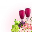 Glass of wine with fruit and flowers — Stock Vector