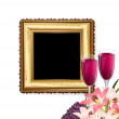 Stock Vector: Glass of wine with fruit and flowers on the background of a gold