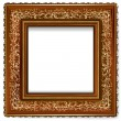 Stock Vector: Wooden frame with retro pattern with gold leaf