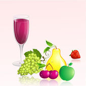 Glass of wine with fruit — Stock Vector