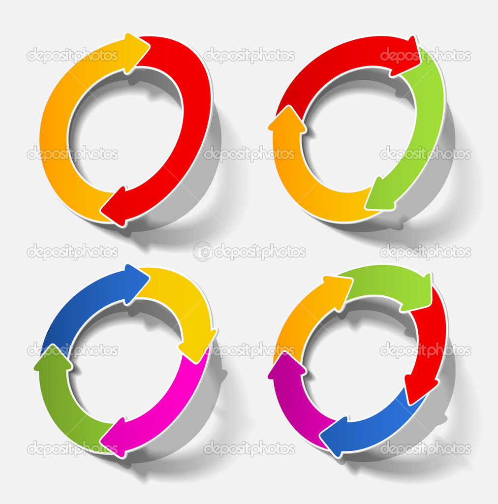 Arrow circle circular cycle diagram motion recycling realistic shadow sticker template — Stok Vektör #8019139
