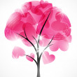 Valentine tree, abstract background — Imagen vectorial