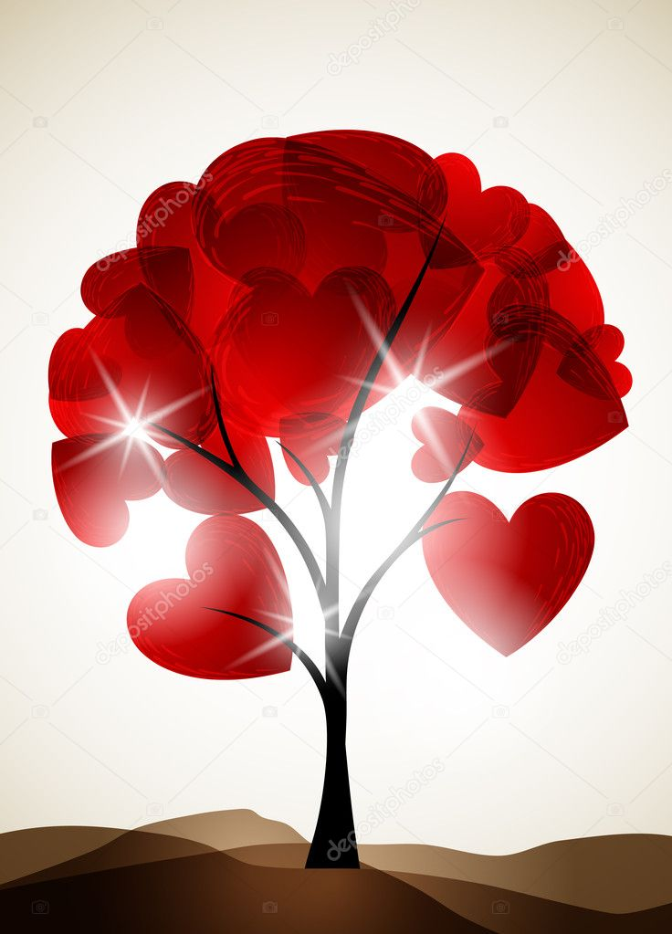 Valentine tree, abstract background  Stock Vector #8873791
