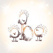 Easter chicks — Vector de stock