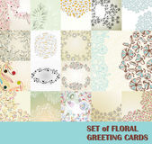 Set of floral greeting cards — Vecteur
