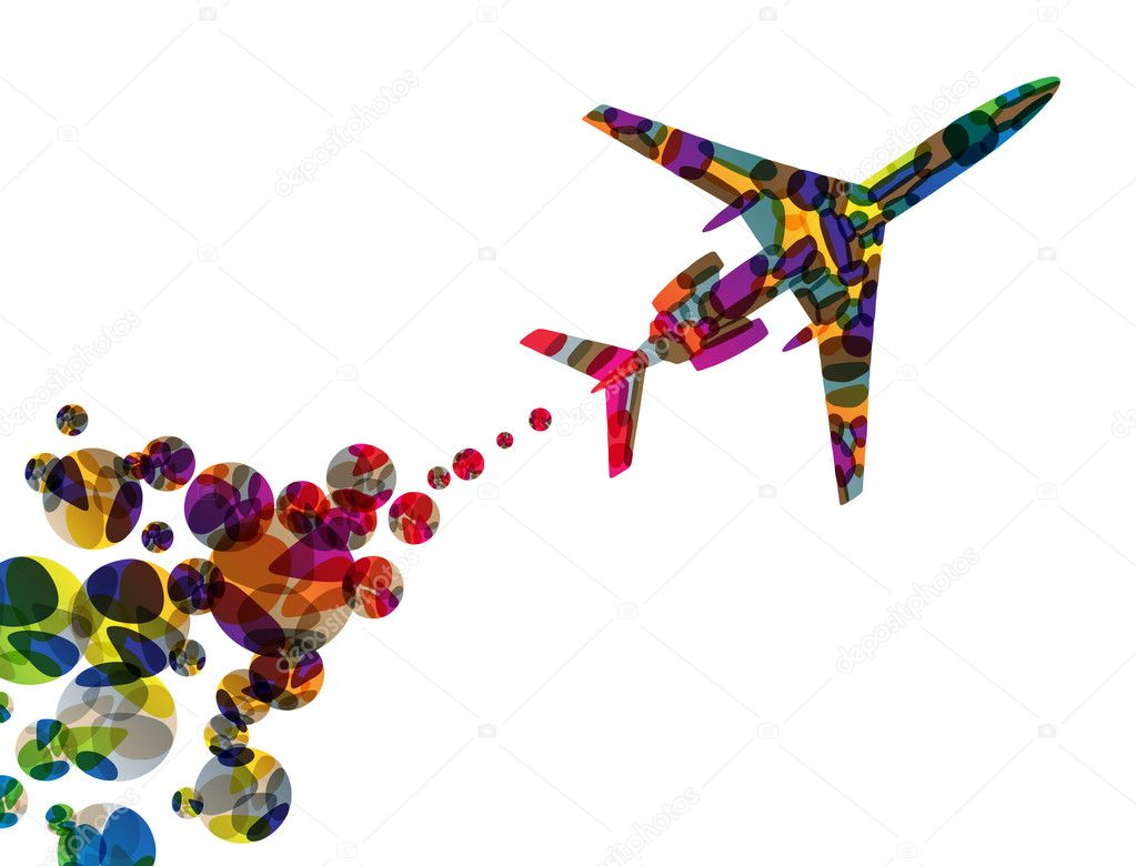 Airplane, vector abstract background — Stock Vector #9802366