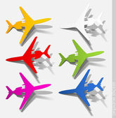 Airplane sticker, realistic design elements — Stock Vector