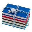 Books chained and closed padlock isolated over white. - Stock Photo