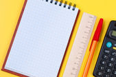 Stationery on yellow background. — Stock Photo