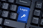 Button keyboard with word login and key icon. — Stock Photo