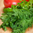 Parsley, dill and tomatoes — Stock Photo