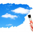 Royalty-Free Stock Photo: Sky with clouds painted brush.