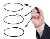 Hand met viltstift pijlen tekenen. — Stockfoto