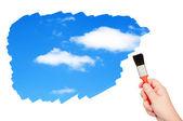 небо с облаками окрашены кистью. — Стоковое фото
