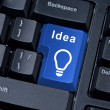 Stock Photo: Button with word IDEA and icon light bulb.