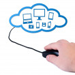 Hand with computer mouse cloud computing concept. — Stock Photo