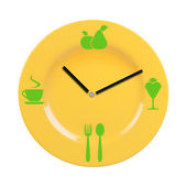 Plate with a dial and food icons. — Stock Photo