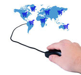 Hand with computer mouse and map of the world. — Stock Photo