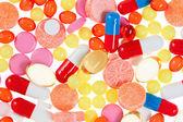 Pillen, tabletten und medikamente, medizinische hintergrund — Stockfoto