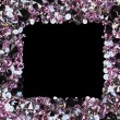 Square frame made from many small purple diamonds, with copyspac — Stock Photo