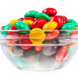 Multicolor bonbon sweets (ball candies) in glass bowl, isolated — Stock Photo #9452119